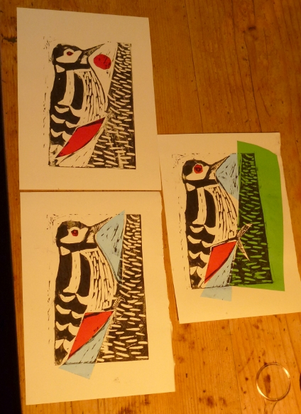 More lino woodpeckers with collaged elements