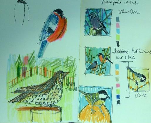 Sketchbook ideas for next set of British Bird prints