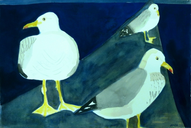 Three Seagulls - Watercolour and Gouache on paper
