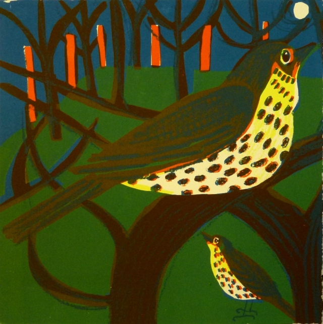 Thrushes Screen print