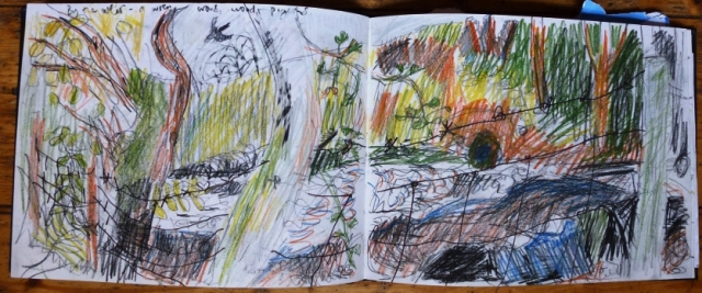 at the weir, sketchbook page