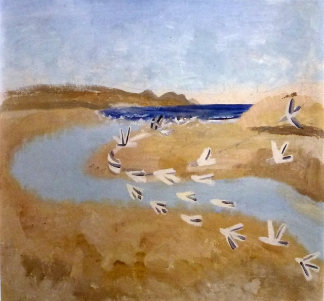 sandpipers flock, winifred nicholson